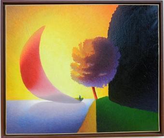 Huile sur Toile : Grande Voile Rose  Dimensions : 115 x 95 cm