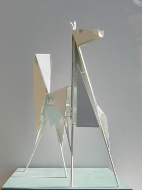 CHEVAL ARABE - métal soudé et laqué                hauteur:62 cm,socle bois