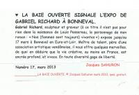 EXPOSITION  à  BONNEVAL  (eure et  loir ) , RICHARD Gabriel